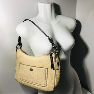 Beige Coach leather handbag hobo purse bag